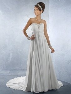 Alfred Angelo Ivory Chiffon 2171 Sweetheart Lace-up Back Extra Lengt Feminine Wedding Dress Size 12 (L)