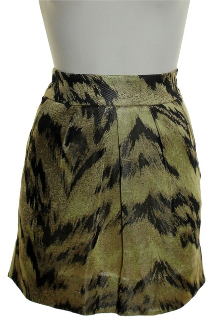 Diane von Furstenberg Pleated Front Knit Mini Skirt Gold Multi
