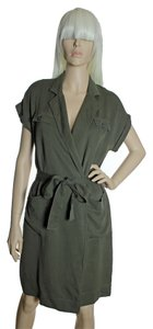 J.Crew short dress Army Green Lyocell Fine Corduroy Faux Wrap Belted on Tradesy