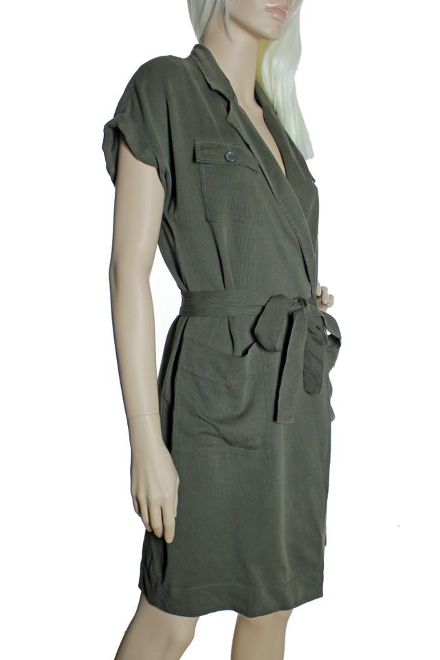 J.Crew Army Green Lyocell Fine Corduroy Faux Wrap Belted Short Casual Dress 743b6d58e