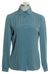 St. John Peter Pan Collar Long Sleeve Button Down Shirt Blue