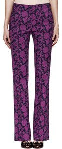Tory Burch Wide Leg Floral Wide Leg Pants Blue and fuchsia print