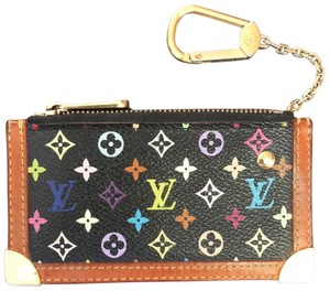 Louis Vuitton Key Chain Coin Purse Wristlet in Black Multi