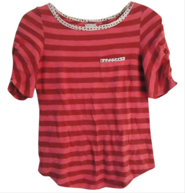Anthropologie Postmark Striped Cotton Knit Ruched T Shirt pink