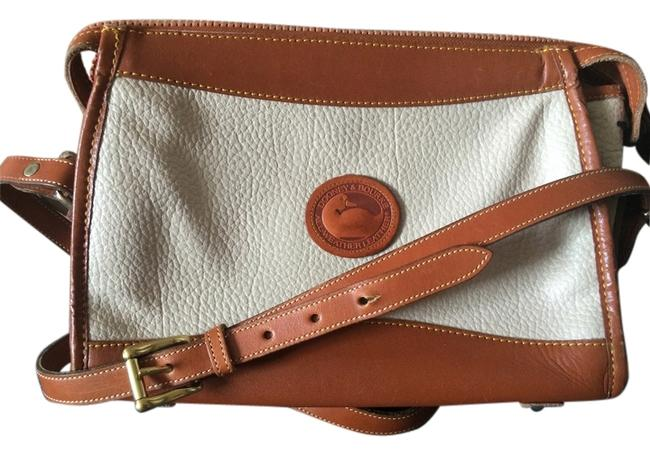 Item - White/Brown Leather Cross Body Bag