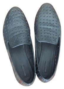 Perforated Leather Loafers Black Flats