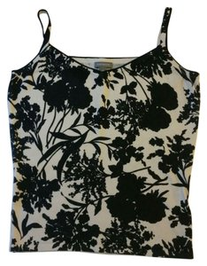 Ann Taylor Sweater Layering Floral Abstract Top Black and White