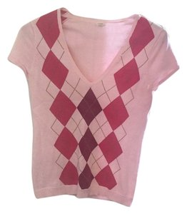 J.Crew Top Pink argyle
