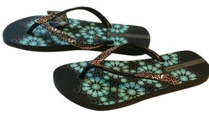 iPANEMA Flip Flop Black Gold Blue Pattern Comfy Beach New With Tags Nwt Never Worn Multi Sandals