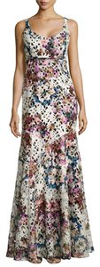 Nicole Miller Floral-print Lace Gown Dress
