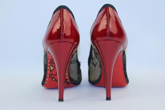 Christian Louboutin Red/ Black Lace Pumps
