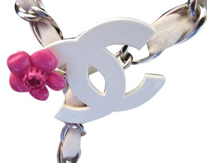 Chanel Chanel White Leather Woven Silver Belt with 2 Fushia Camellias