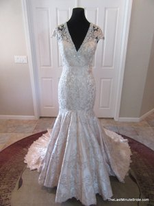 MADISON JAMES Champagne / Silver Lace and Satin Mj150 Formal Wedding Dress Size 6 (S)