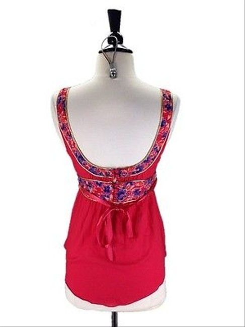 Free People People Gold Trimmed Floral Top Red