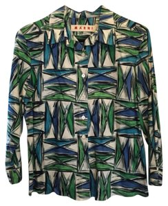Marni Button Down Shirt White, Blue, Green, Black