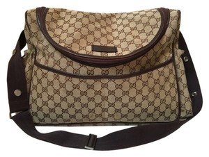 b5e474ccede Gucci Canvas Tote Messenger Tan with GG logo and brown trim Diaper Bag