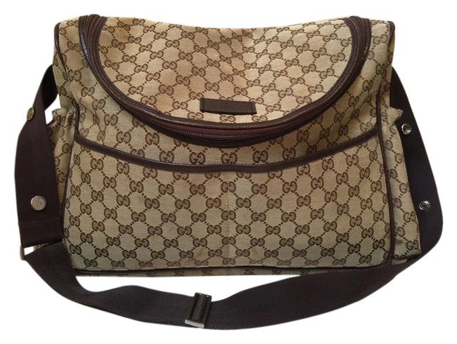 Item - Tan with Gg Logo and Brown Trim Canvas Fabric Diaper Bag