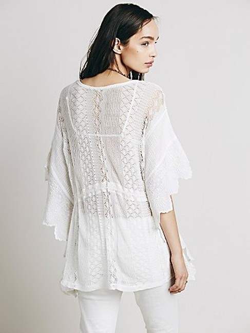 Free People Ivory Generous Sizing Drawstring Waist Secret Garden Top