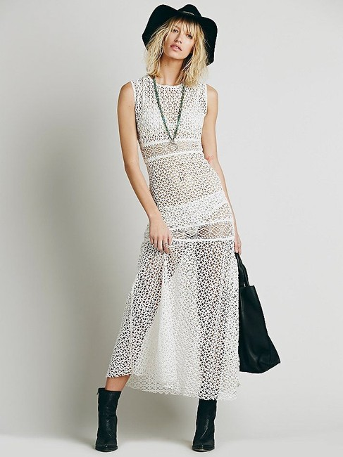 white Maxi Dress by Free People Coachella Bohemian One One Annina Crochet