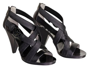 Michael Kors Leather Stacked Heel Rubber Sole Wedge Strappy Black Sandals