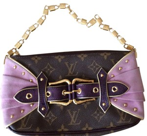 Louis Vuitton Ostrich Pochette Limited Edition Lv Gold Locks Les Extraordinaires Brown and purple Clutch