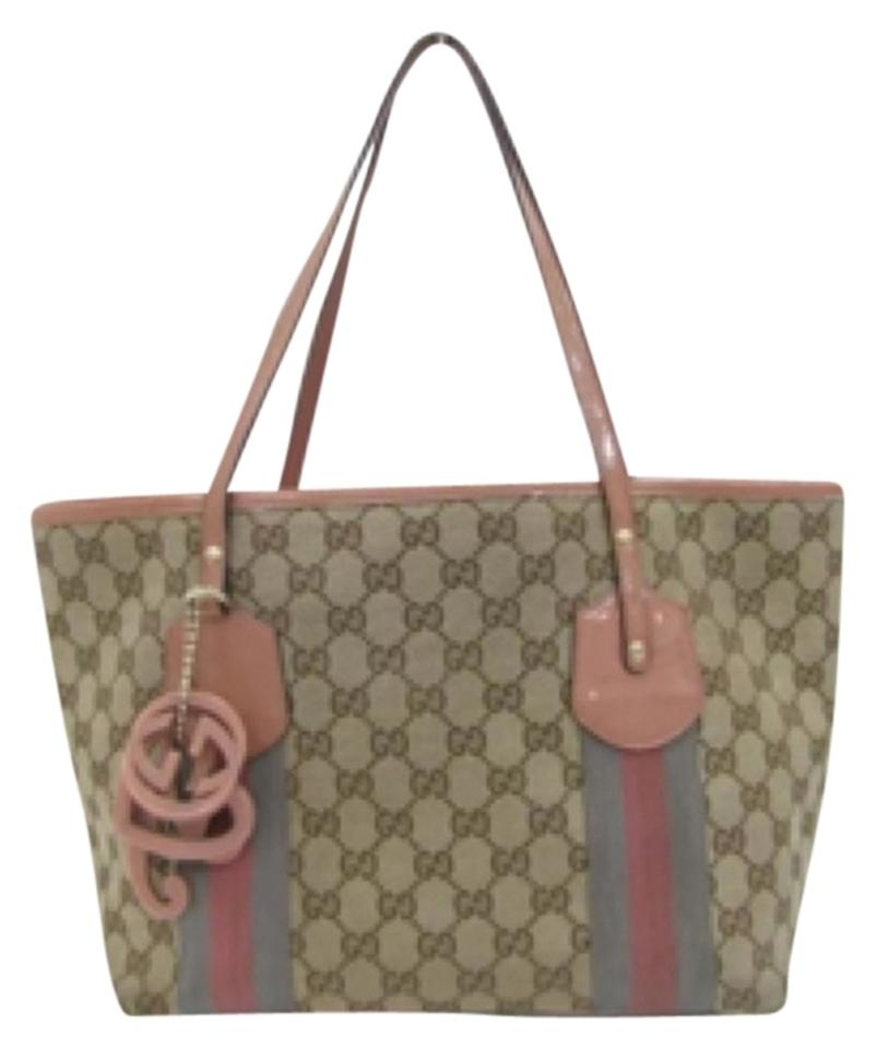 96ca7c0f0b24 Gucci Logo Canvas Patent Leather Charms Monogram Shoulder Jolie Webbed Gg  Rare Tote in Beige, ...
