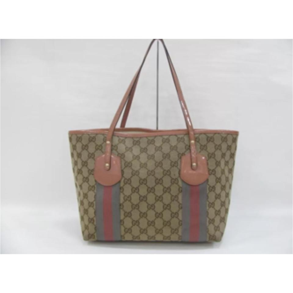 c7089c239 Gucci Logo Canvas Patent Leather Charms Monogram Shoulder Jolie Webbed Gg  Rare Tote in Beige