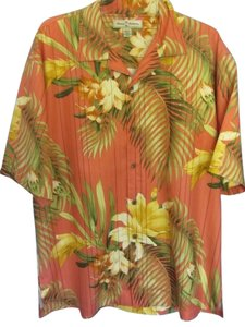 Tommy Bahama Top salmon with tropical print