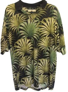 Tommy Bahama Top black with green floral print