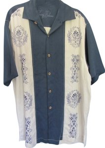 Tommy Bahama Top blue white