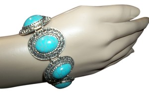 Bracelet, Teal Puffed Gems set in Antiqued Silver Bases, Embossed, Toggle Clasp