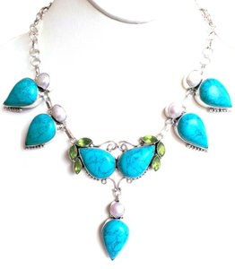 Turquoise, River Pearl and Green Apple Quartz 925 Sterling Silver Statement Necklace