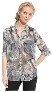 Gianetta Snake Print Animal Print Python Sheer Semi-sheer Longsleeve Faux Pocket Button Down Button Up Shirt Top Grey