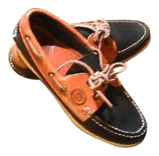 Item - Navy/Brown Leather Boat Oxfords Flats Size US 5.5 Regular (M, B)