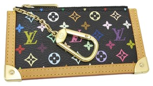 Louis Vuitton Authentic Multicolore Monogram Noir Cles Coin Case with Natural Interior