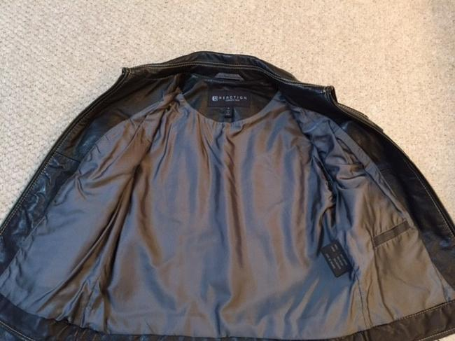 Kenneth Cole Reaction Leather Leather Zipfront Topstich Detail black Leather Jacket