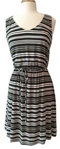 Merona short dress Olive and creme stripe on Tradesy