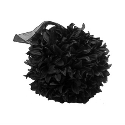 "5"" Fluffy Pomander Kissing Ball In Black - Perfect"