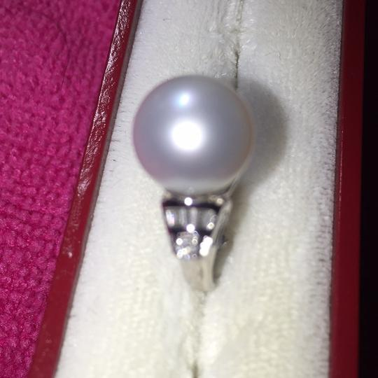 Mother pearl 18K with genuine diamond ring pearl diamond ring