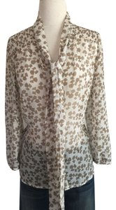 Anthropologie Flowy Tie Animal Print Top White and Tan