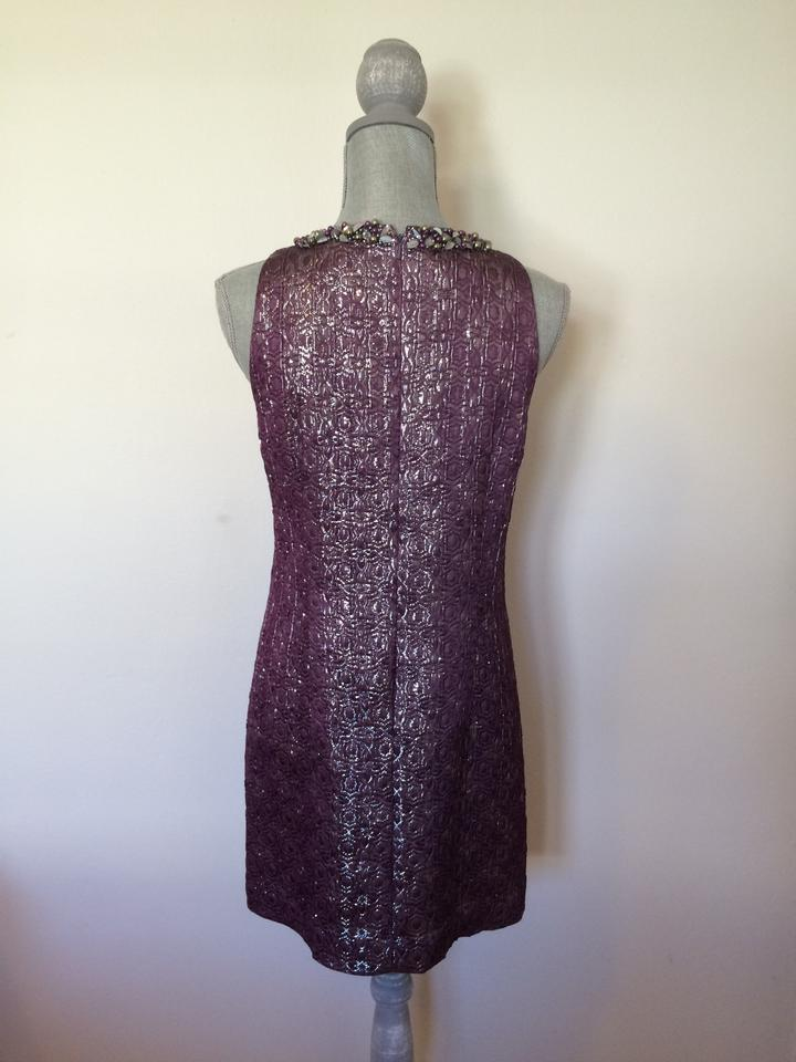 Maggy London Purple 1960\'s Inspired Shimmer With Neck Beading Dress ...