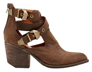 Jeffrey Campbell Distressed Chunky Everwell Leather Brown Boots