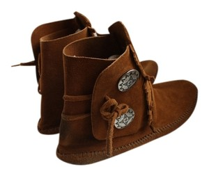 Minnetonka Suede Leather Festival Fringe Brown Boots