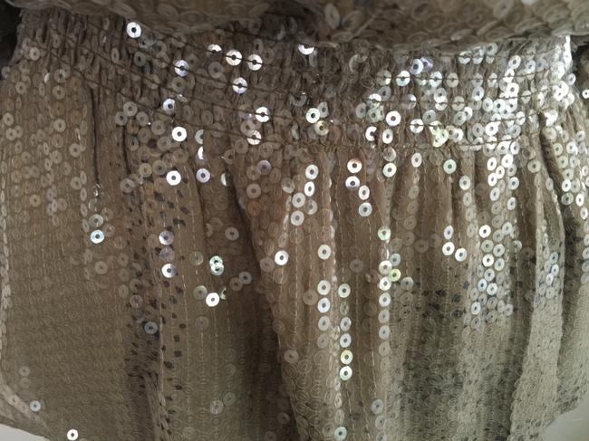 Devlin Sequin Clear Sequin Ruffle Slouchy Drape Sparkle Top oatmeal, beige, animal print