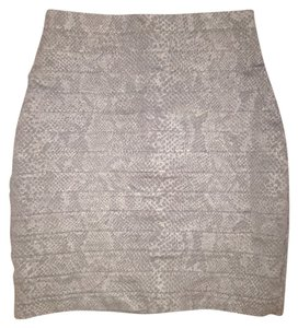 Express Snakeskin Pencil Office Mini Skirt Black