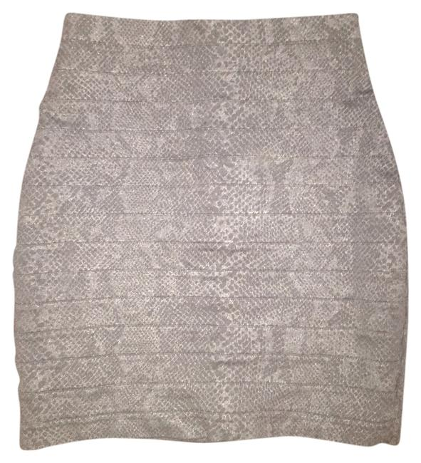 Express Snakeskin Pencil Office Bandage Mini Skirt Black