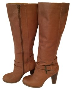 Nine West Leather Knee High Boot Chunky Tan Boots
