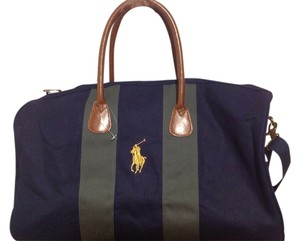 Ralph Lauren NAVY W/GREEN STRIPES AND LOGO Travel Bag