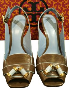 Tory Burch Brown with blue Detail Wedges