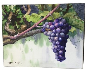Gye Sook Kim Fine Art * Water Color on Canvas | Grapes & Leaves on Grape Vine